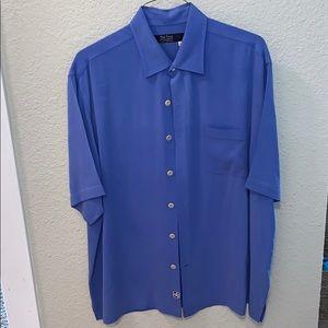 Blue nat nast 100% silk button up shirt